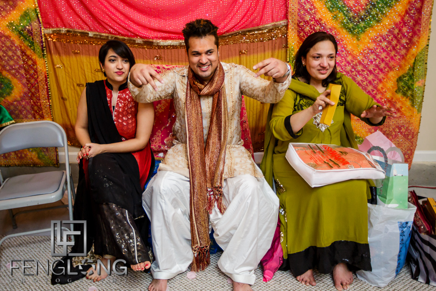 Groom with mother and sister on Mehndi night at Ismaili wedding