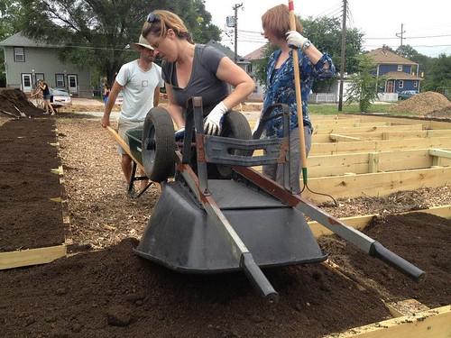 20130806. Fall Creek Gardens' kitchen demonstration beds.