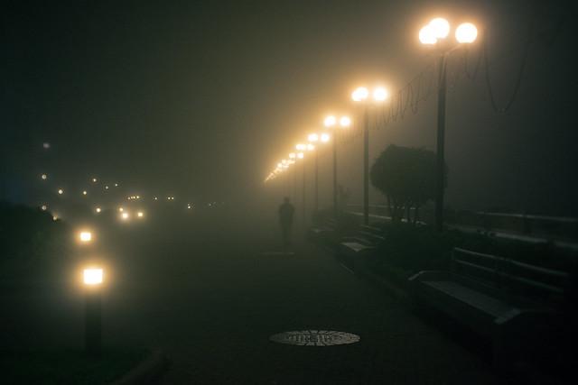 Walking in a foggy night