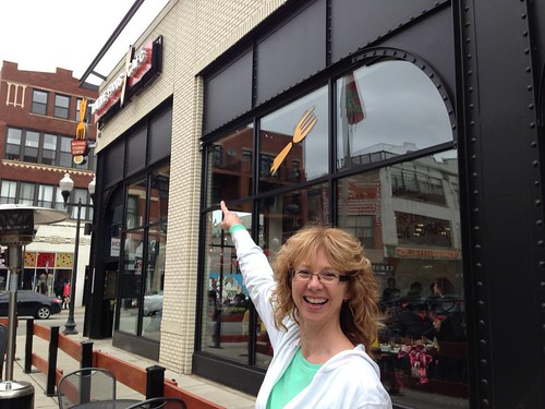 My mama excitedly pointing to the Native Foods sign on the side of the building.