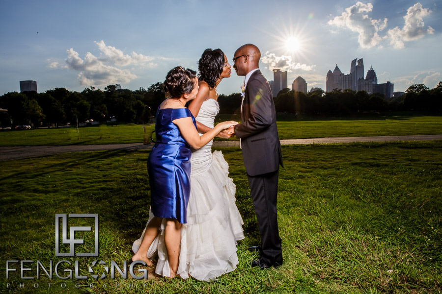 After ceremony portraits of bride and groom in Piedmont Park