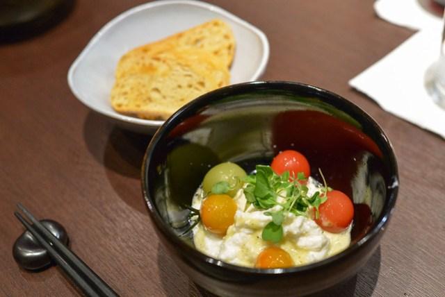 cherry tomato & burrata salad, crostini, lime-cilantro vinaigrette