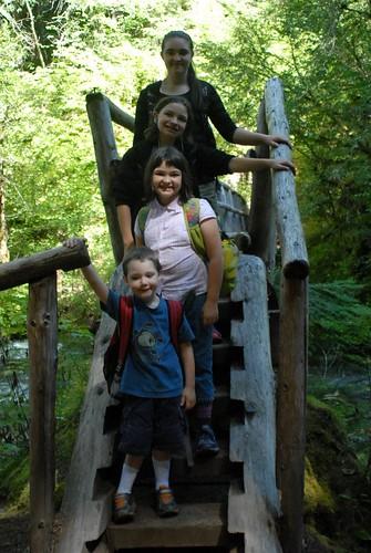 Kids on another log bridge