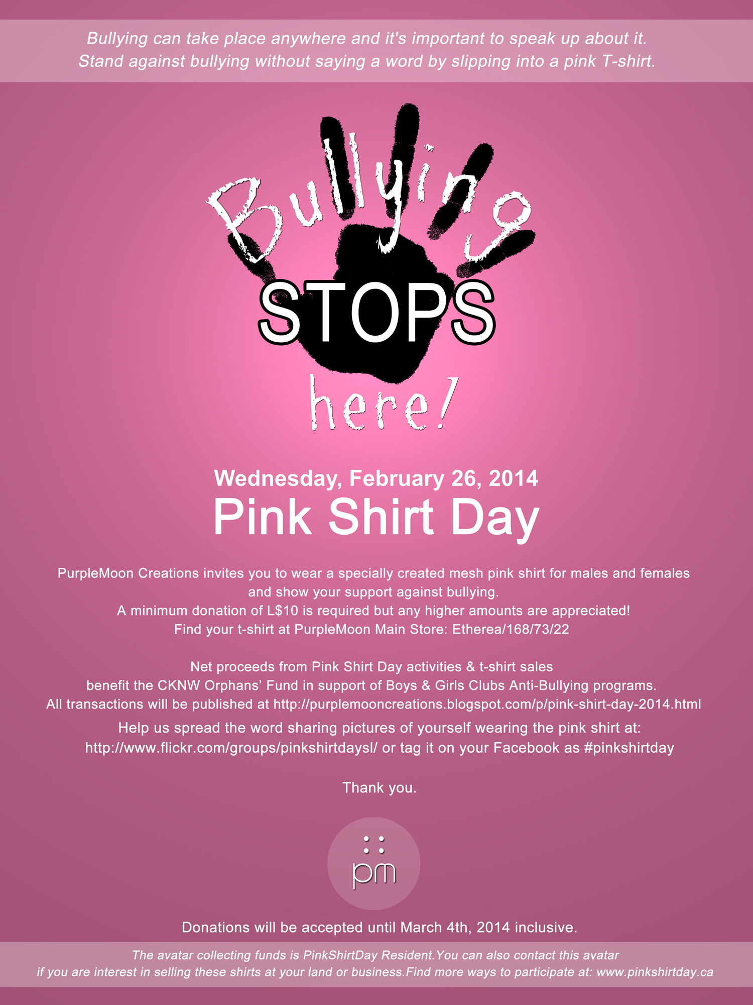 PINK SHIRT DAY - BULLYING STOPS HERE! - February 26th, 2014