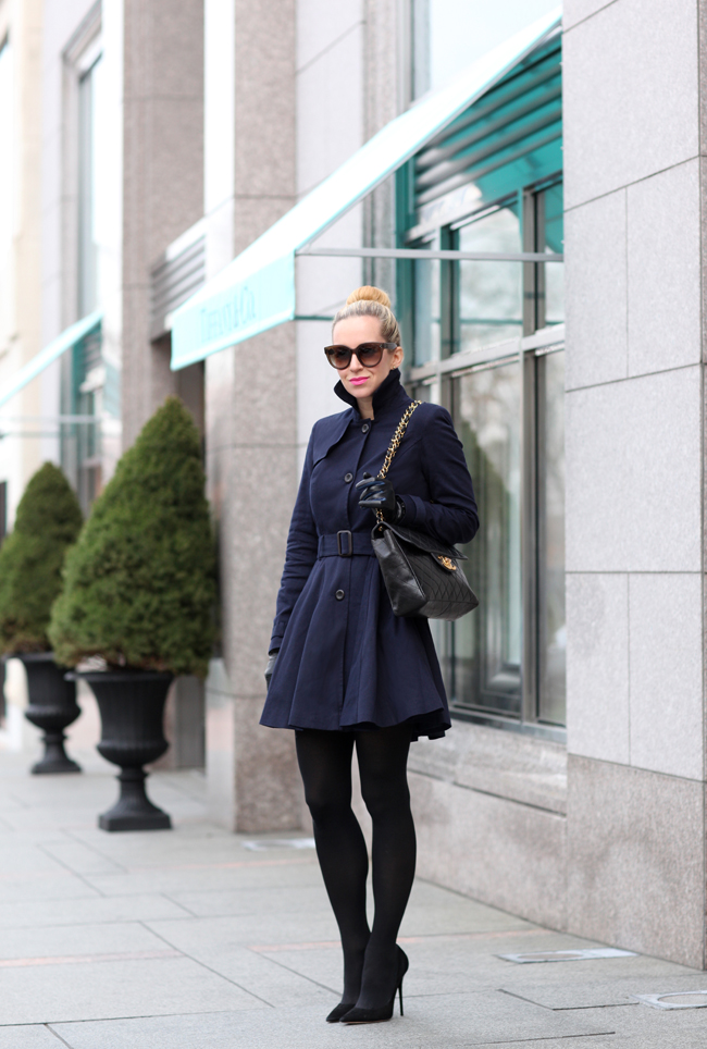 Trench Coats Short Navy Trench Coat Black Tights Black Heels Outfit of the Day Fashion Style