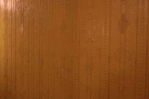 Reproduction wallpaper onboard the Moscow Metro replica train