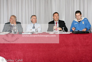 Pictured at the top table for the 127th Athlone Town FC AGM held on Wednesday 12th February in the Shamrock Lodge: President - Tony Knight, Treasurer - Joey Boland, Chairman - John Hayden and Secretary - David Dully.