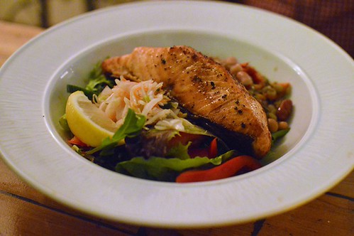 Chargrilled salmon fillet