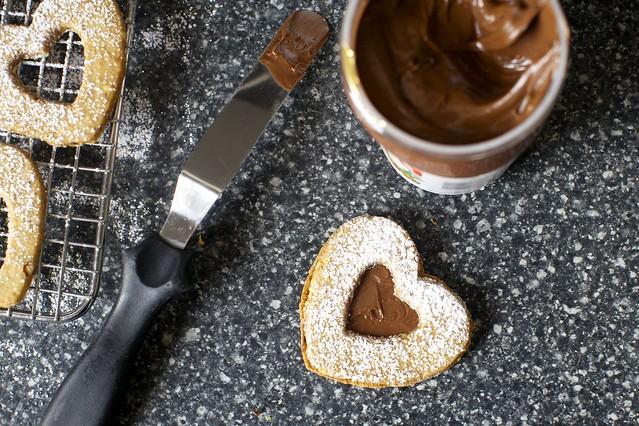 chocolate hazelnut linzer heart