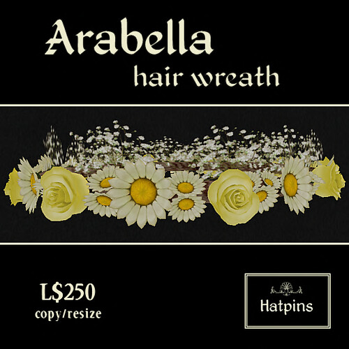 Hatpins - Arabella Hair Wreath - Yellow Roses