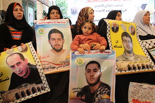 Palestinian political prisoners' families and supporters hold weekly Gaza vigil