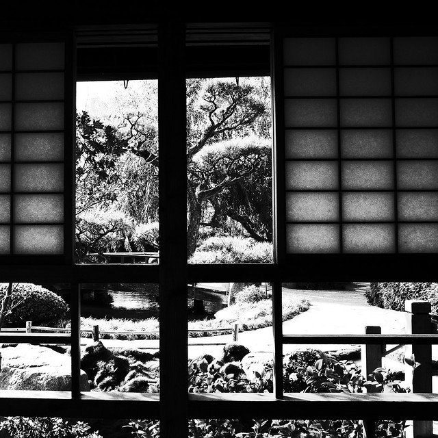 Japanese Garden through a tea house window