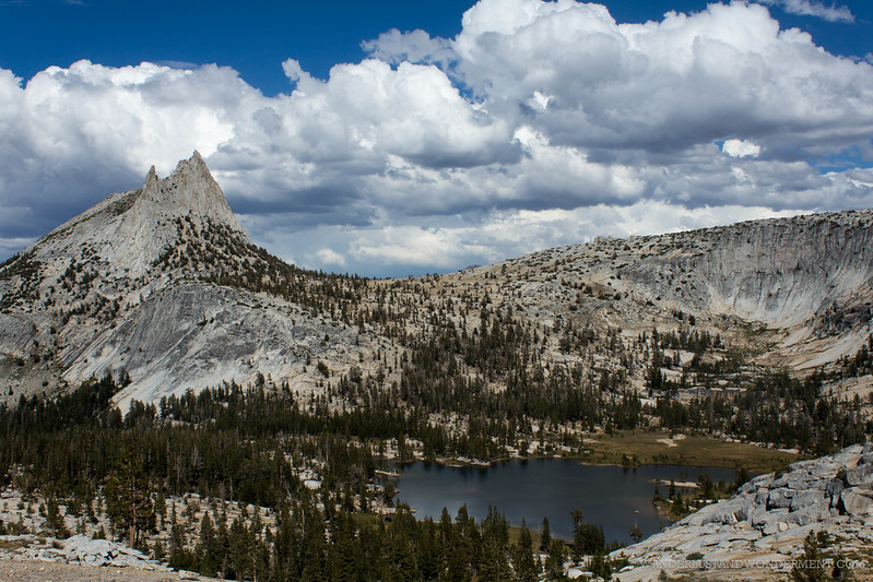 Cathedral Peak and lower lake