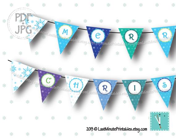 USD 4.99, Christmas banner, snowman kit, snowflake clipart, snowball, silver snowflake, bunting clipart, felt snowflake, banner clipart, christmas lot