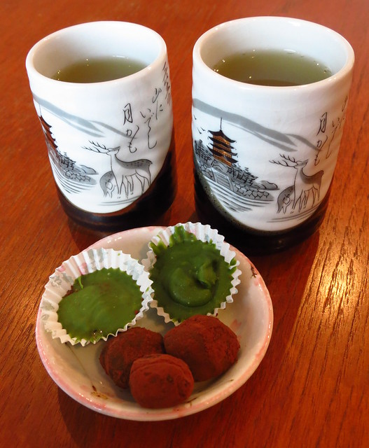 Japanese sweets with green tea