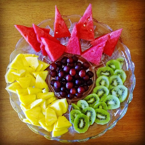 Another item on the menu: Fresh fruit platter. Loving the colours and the shapes. :)