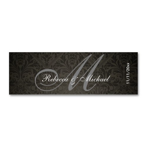 Elegant Damask Monogram Wedding Favor Tags Business Card Templates