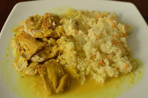 Sherry braised citrus chicken with cauliflower rice