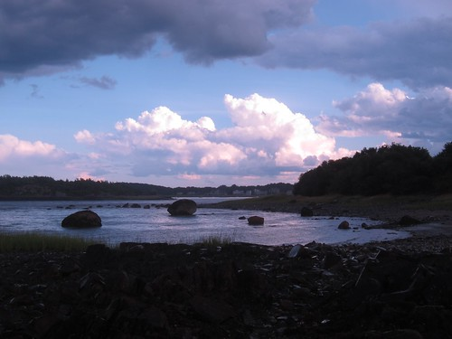 Boulders revealed by low tide