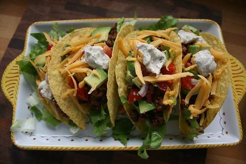 salad, bean & meat tacos by the james kitchen