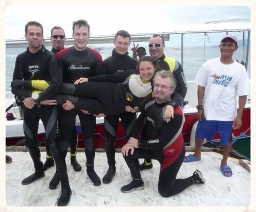 Foto van net na mijn 500ste duik, 500 duiken geleden dus :-)