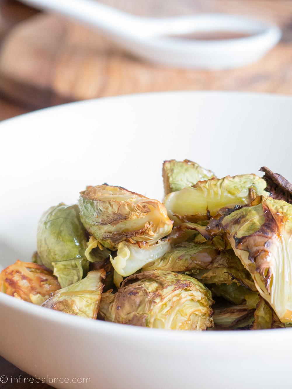Miso Glazed Brussels Sprouts | www.infinebalance.com #vegan