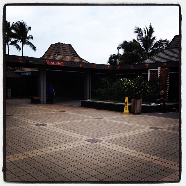Aloha from Kona airport, where you check in, wait for your flight, and claim your bags in the open air.