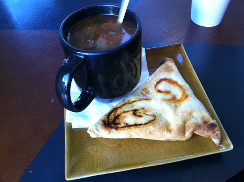 Smoked eggplant soup with samosa at Cafe Argento
