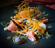 Course 2 - Pickled fish, lightly curried dressing, bbq carrots, honeycomb