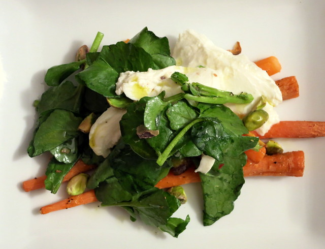 Roasted baby carrots, burrata, watercress, pistachio