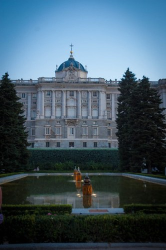 Palace in Madrid at sunset