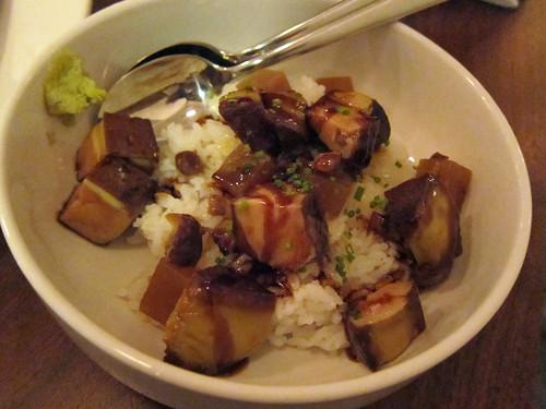 Foie gras rice bowl, chestnuts, daikon, unagi glaze