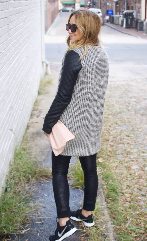 Black Leather and Gray Tweed Coat