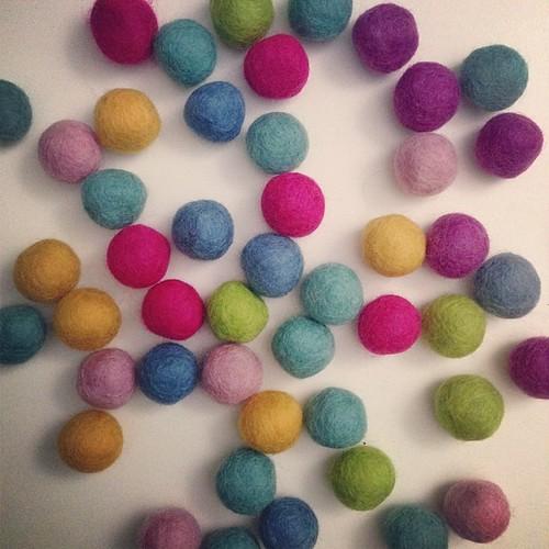 wool felt balls, felt garland