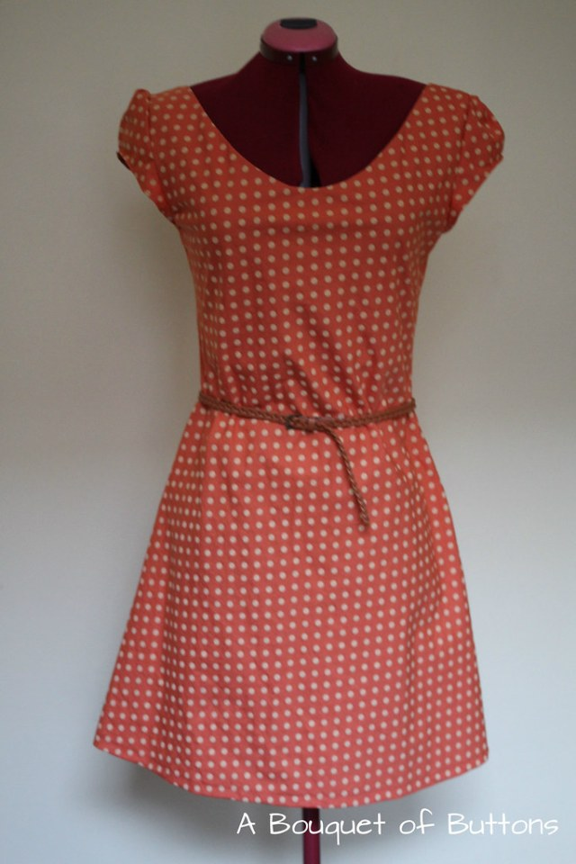 orange polka dot dress, polka dot, polka dot jurk, polka dot dress, great britisch sewing bee, naaien & stikken
