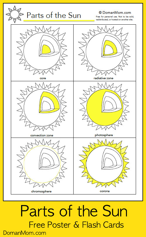 Parts of the Sun - Free Poster & Flash Cards