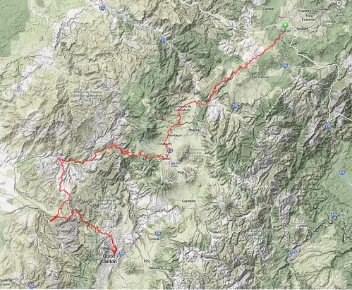 Map - Tulcan to Quito (detail)
