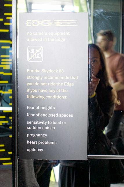 Visit Eureka Skydeck - EDGE Notice Sign.