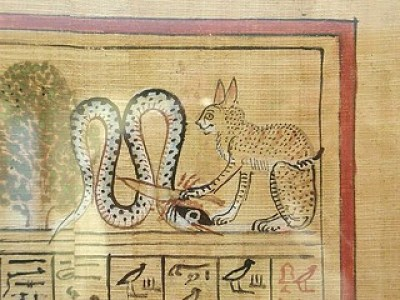 Egyptian Mau -Ra slaying Apophis (British Museum)