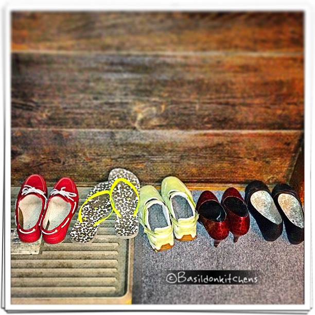 July 2 - shoes {just a few of mine waiting at the side door} #shoes #fmsphotoaday #deckshoes #flipflops #walkingshoes #highheels #flats