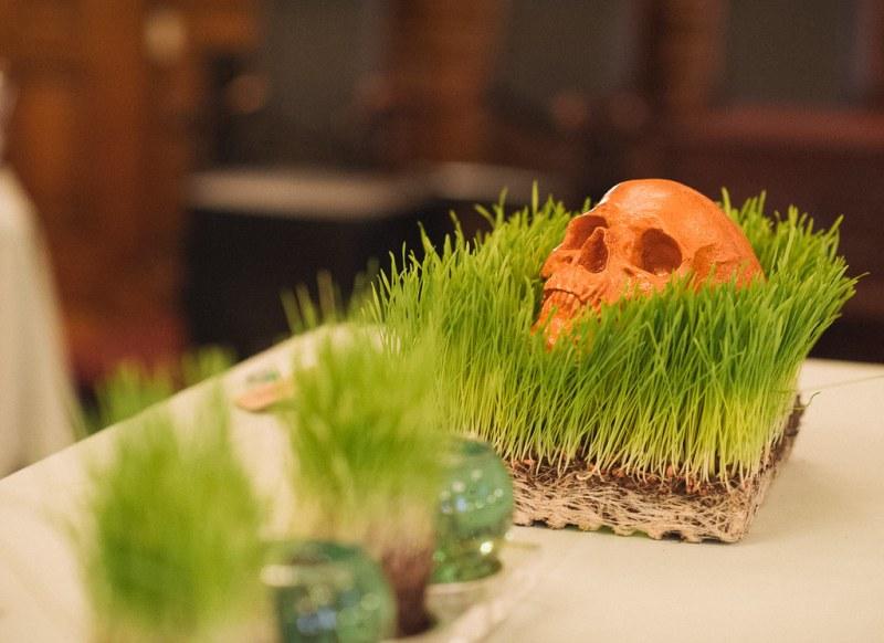 Glitter Skull in Wheatgrass