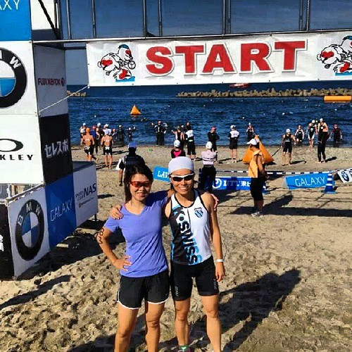 With my new buddy Ying at the start line. It was the first race for both of us and we dragged and lifted each other through the weekend. #triathlon