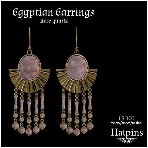 Hatpins - Egyptian Rose Quartz Earrings