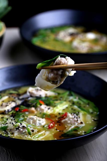 Faux Pork Wonton Soup With Bok Choy - Vegan Chinese Recipes