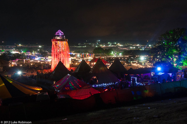 Night View of the Ribbon Tower, the Park, and Glastonbury Festival
