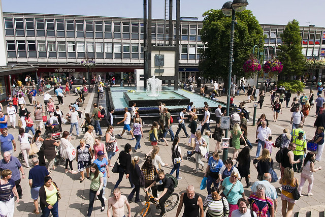 Stevenage Town Centre was busy that day