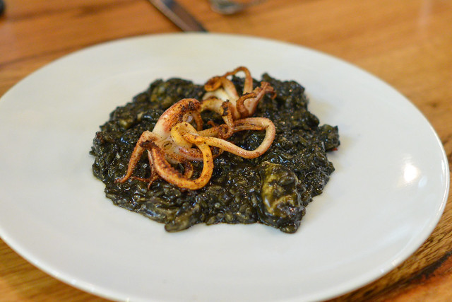 Risotto al Nero di Seppia. squid ink. cuttlefish. mussels. clams. hint of pesto.