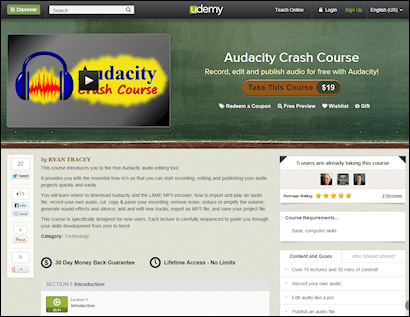 Audacity Crash Course landing page