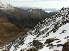 Aufstieg Napfspitze, Blick auf den Neves Stausee