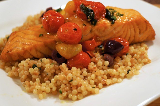 Salmon with Pearled Couscous and Cherry Tomato Confit